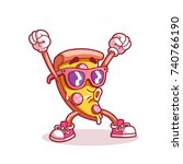 pizza sticker. line color.... | Shutterstock .eps vector #740766190