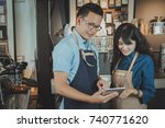two of asian baristas taking an ... | Shutterstock . vector #740771620