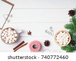 hot cocoa with marshmallows and ... | Shutterstock . vector #740772460