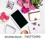 stylish feminine accessories ... | Shutterstock . vector #740772490