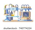 3d printing device flat design. ...   Shutterstock .eps vector #740774224