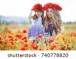 beautiful young woman with... | Shutterstock . vector #740778820