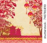 abstract asian landscape card | Shutterstock . vector #740781850