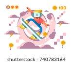 man play in helmet of virtual... | Shutterstock .eps vector #740783164