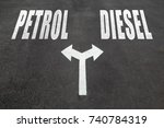 petrol vs diesel choice concept ... | Shutterstock . vector #740784319