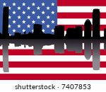 Boston skyline reflected with American flag illustration