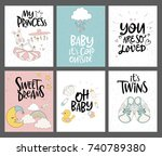 set of cute cards for baby... | Shutterstock .eps vector #740789380
