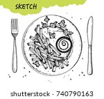 french fries with sauce a plate ... | Shutterstock .eps vector #740790163