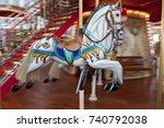 White Merry Go Round Horse