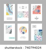 set of creative universal cards.... | Shutterstock .eps vector #740794024