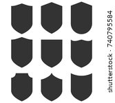 shield icons set. vector... | Shutterstock .eps vector #740795584