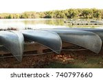 metal canoes resting on a boat... | Shutterstock . vector #740797660