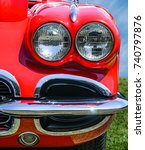 Vintage Red Sports Car Front...