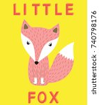 little fox slogan pink animal... | Shutterstock .eps vector #740798176