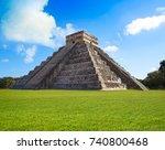 chichen itza pyramid el templo... | Shutterstock . vector #740800468