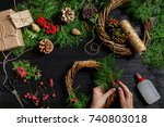 top view of female hands make a ...   Shutterstock . vector #740803018
