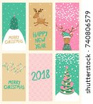 merry christmas and happy new... | Shutterstock .eps vector #740806579