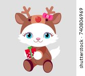 new year. cat with gift in a...   Shutterstock .eps vector #740806969