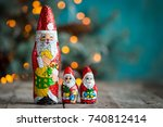 chocolate santa claus with... | Shutterstock . vector #740812414