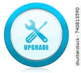 upgrade blue chrome silver... | Shutterstock . vector #740813590