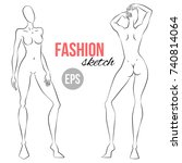 illustration of women's figure... | Shutterstock .eps vector #740814064