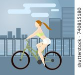 young girl on a sports bike... | Shutterstock .eps vector #740815180