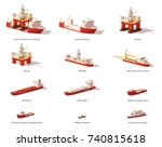 vector low poly offshore... | Shutterstock .eps vector #740815618