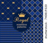 set of royal seamless vector... | Shutterstock .eps vector #740819320