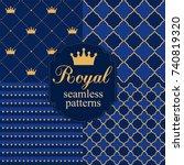 set of royal seamless vector... | Shutterstock .eps vector #740819320