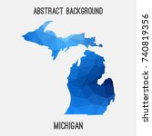 michigan map in geometric... | Shutterstock .eps vector #740819356