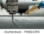 engraving machine steel blade | Shutterstock . vector #740821393