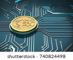 bitcoin concept  golden coin on ... | Shutterstock . vector #740824498