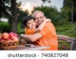 portrait of happy indian asian... | Shutterstock . vector #740827048