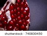 fresh pomegranate macro picture ... | Shutterstock . vector #740830450