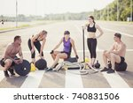 small group of athletes posing...   Shutterstock . vector #740831506