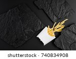 french fries in white box on a... | Shutterstock . vector #740834908
