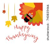 happy thanksgiving. vector... | Shutterstock .eps vector #740835466