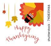 happy thanksgiving. vector...   Shutterstock .eps vector #740835466