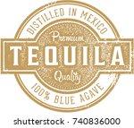 vintage tequila bottle label | Shutterstock .eps vector #740836000