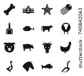 16 vector icon set   starfish ...   Shutterstock .eps vector #740842063