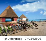 Holbox Island bicycles and hut in Quintana Roo of Mexico