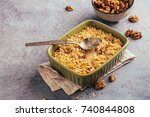 apple and cranberry crumble... | Shutterstock . vector #740844808