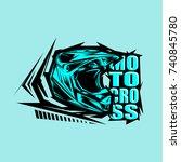 helmet motocross  motocross... | Shutterstock .eps vector #740845780