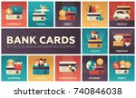 bank cards   set of flat design ... | Shutterstock .eps vector #740846038