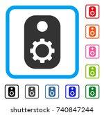 gear tag icon. flat grey iconic ...