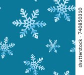 snowflakes  seamless background.... | Shutterstock .eps vector #740850310