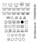 doodle laundry symbols. hand... | Shutterstock .eps vector #740850634