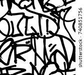 vector graffiti seamless... | Shutterstock .eps vector #740851756