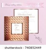 luxury bronze shiny wedding... | Shutterstock .eps vector #740852449