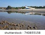 the boat sky and birdie | Shutterstock . vector #740855158